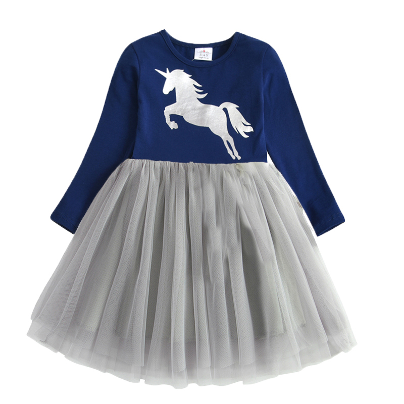 VIKITA Kids Long Sleeve Dresses for Girls Party Dress Star Printed Birthday Tutu Dresses Children Casual Wear Princess Vestidos 12