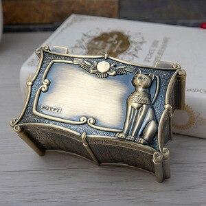 Vintage egipt Bastet Cat Metal Anubis Jewelry Box egipski prezent futerał do przechowywania strona główna rzemiosło artystyczne dekoracja organizator trumna skrzynia