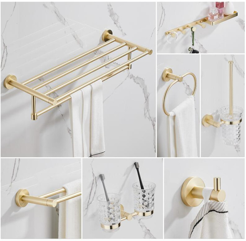 Bathroom Accessories Set Brushed Gold Bathroom Shelf Towel Rack Towel Hanger Paper Holder Toilet Brush Holder Bath Hardware Set Super Discount 3f0399 Cicig
