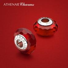 ATHENAIE красный граненое муранское стекло бусины из стерлингового серебра 925 пробы Подвески для женщин Оригинальные Серебряные змеиные Подвески Браслет на новый год