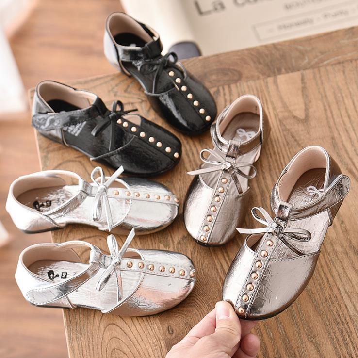 Children Girls Bright Pu Shoes Flat Casual Princess  Girl Shoes 26-36 MQ5185 3colors TX07