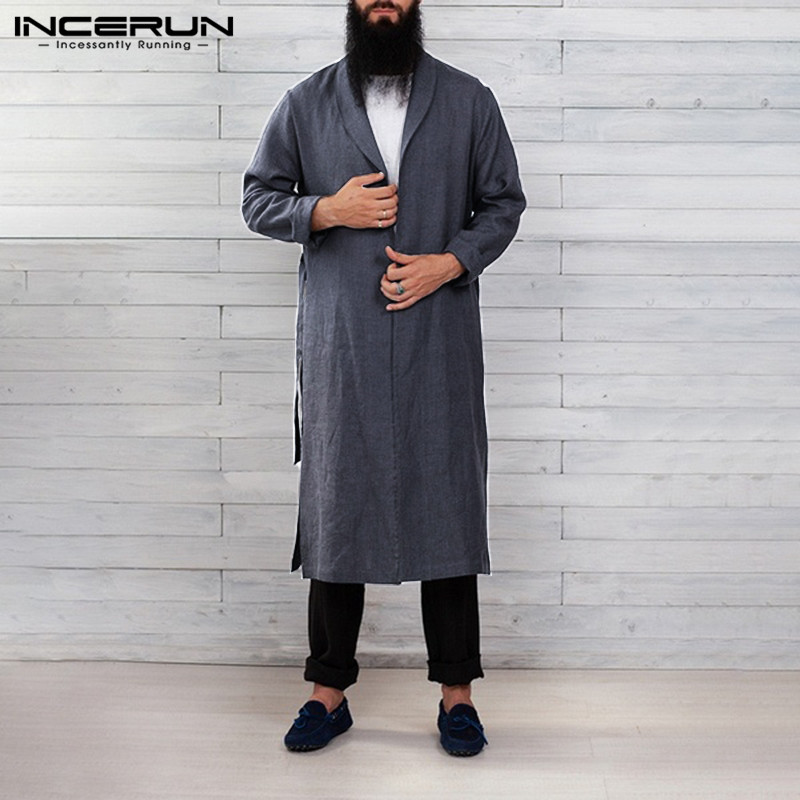 Men Robes Vintage Solid Color Cotton Long Sleeve Casual Homewear Long Bathrobes Fitness Lapel Men Kimono Pajamas S-3XL INCERUN