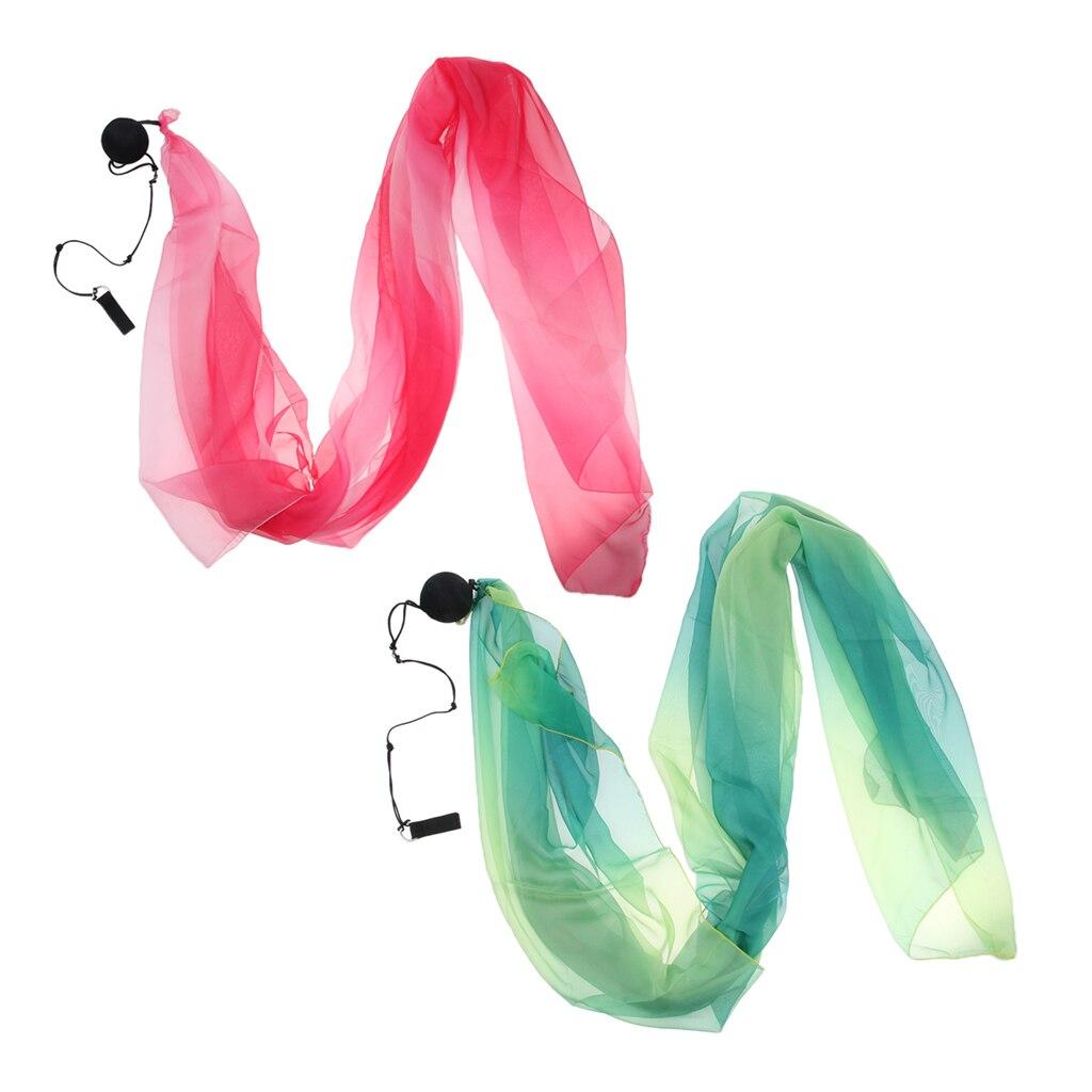 2x Flowy Silk Veil Throw Balls for Belly Dance Costume Dancing Accessories