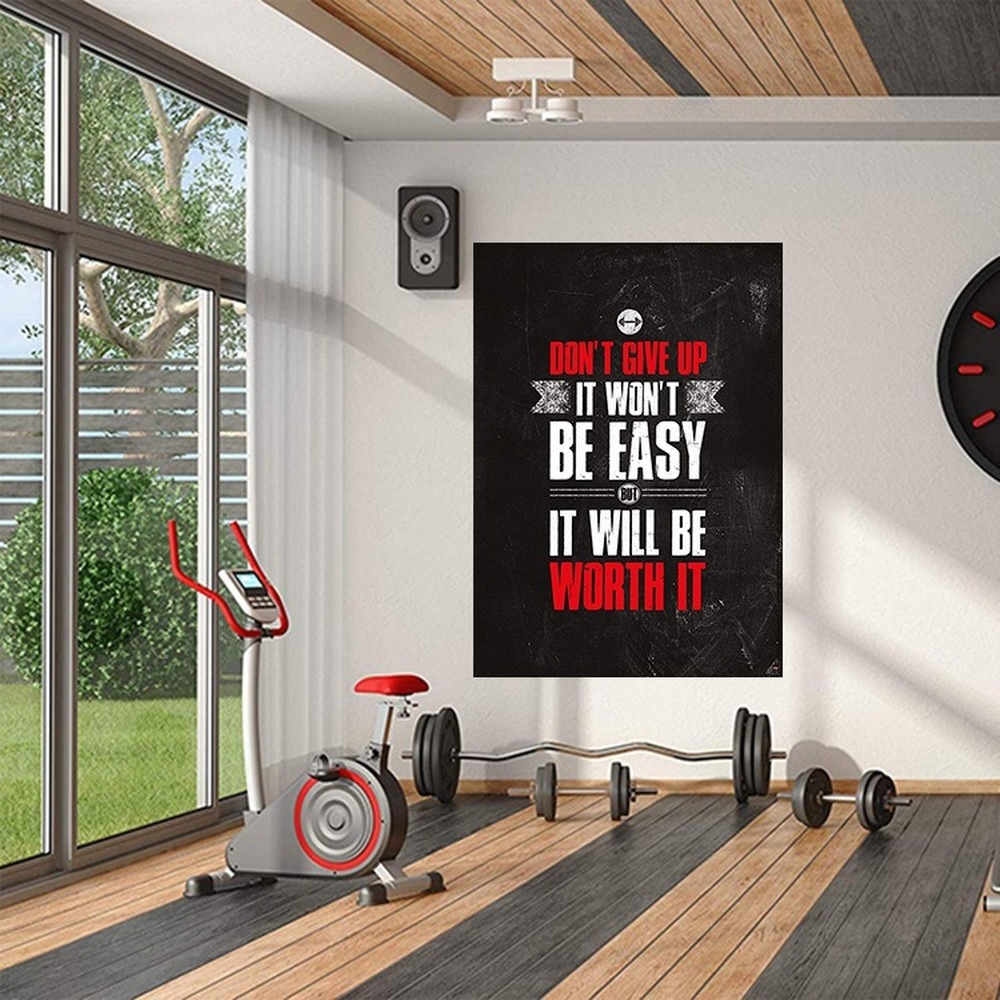 Bodybuilding Motivational Phrase Canvas Painting Muscular Man And Woman English Quote Posters Office Gym Mural Wall Art Pictures image