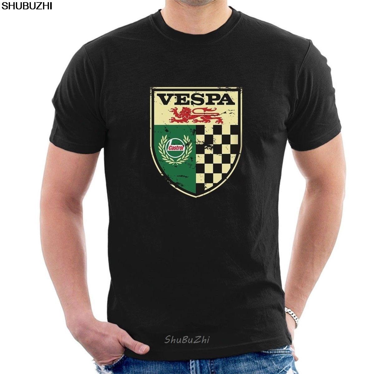 NEW VESPA CASTROL VINTAGE SIGN T-SHIRT Distressed Classic Retro Oil M03 Cartoon T Shirt Men New Fashion Tshirt Loose Sbz3221