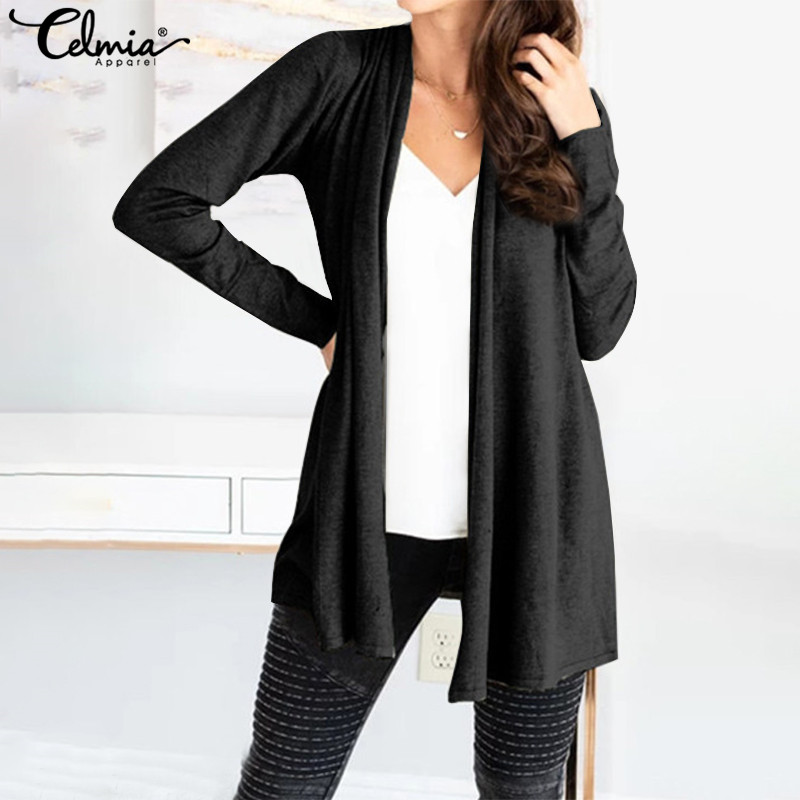 2020 Autumn Winter Women Long Cardigans Celmia Vintage Casual Solid Long Sleeve Knitted Tops Kimono Loose Jumper Pull Femme 5XL