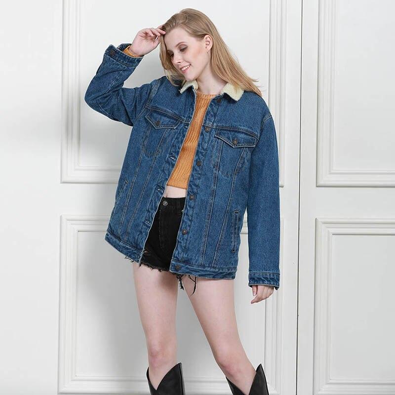 Autumn Winter Women Denim Fancy Jacket Slim Long Sleeve Knit Denim Stretch Denim Washed Blue Female Lady Coat - 3
