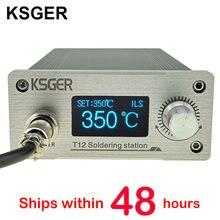Ksger stm32 v3.1s t12 estação de solda diy oled ferramentas de solda t12 pontas de ferro 907 lidar com suporte de metal cnc painel frontal latas derreter
