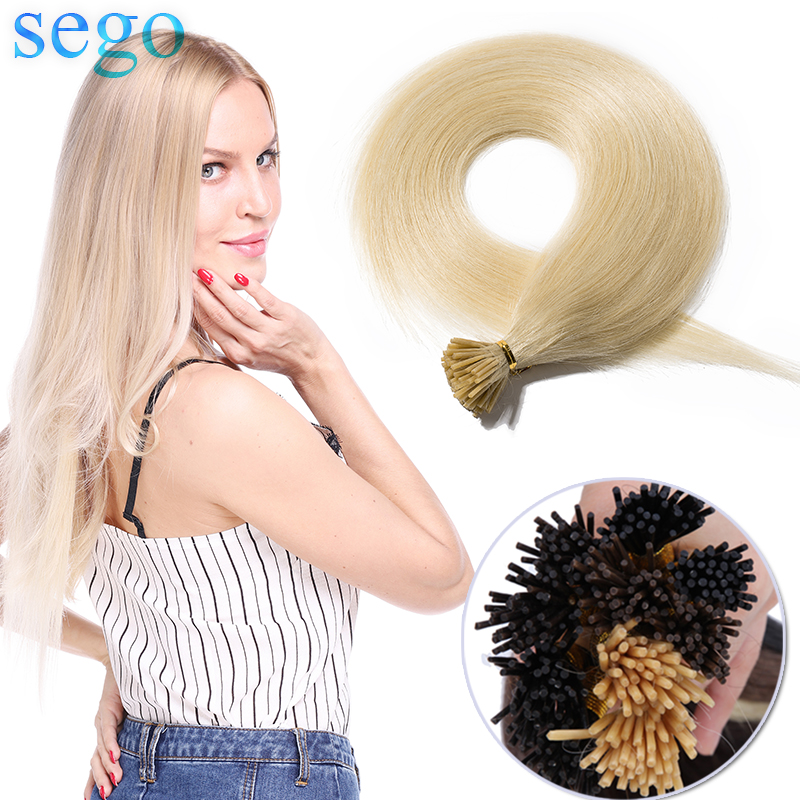 SEGO 16''-24'' 50g 100 Strands Straight 100% Human Hair I Tip Stick Keratin Hair Extensions Pre Bonded Non-Remy Fusion Hair