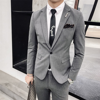 Blazer and Pants 2020 New Fashion Boutique Mens Solid Color Slim Casual Business Suit 2-piece Set Groom Wedding Dress Gown