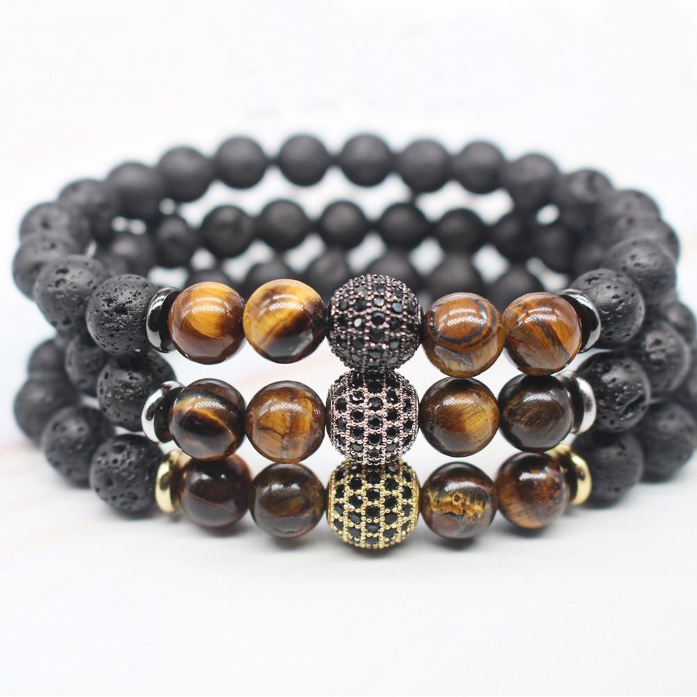 Natural Lava Stone 8mm Tiger Eye Bracelet Micro Inlay Zircon Stretch Bracelet Fashion Men or Women Bracelet Wholesale TR1007