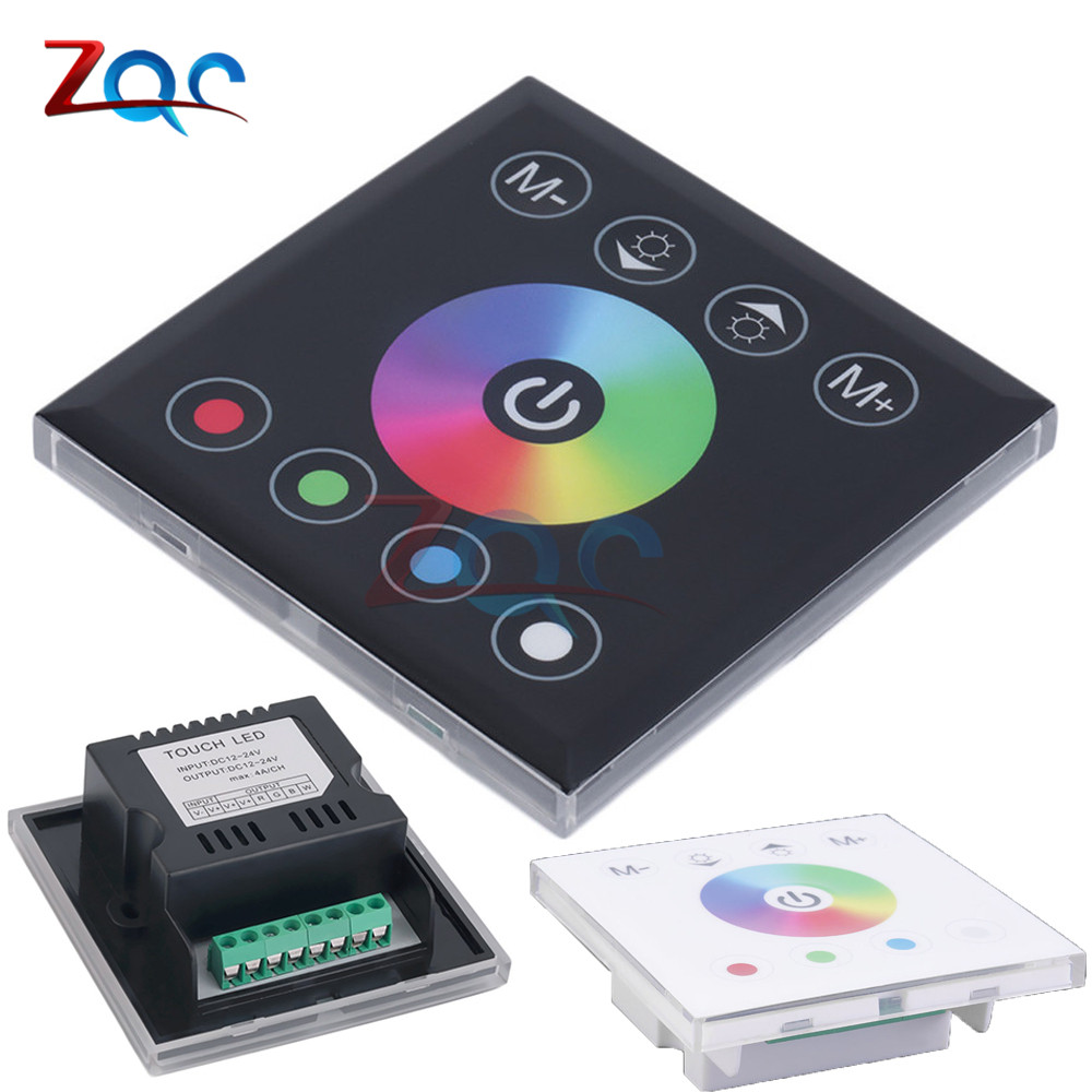 DC 12V 24V RGBW full color wall mounted Touch Panel Controller glass panel dimmer switch Controller for LED RGB Strips lamp|Dimmers| |  - title=
