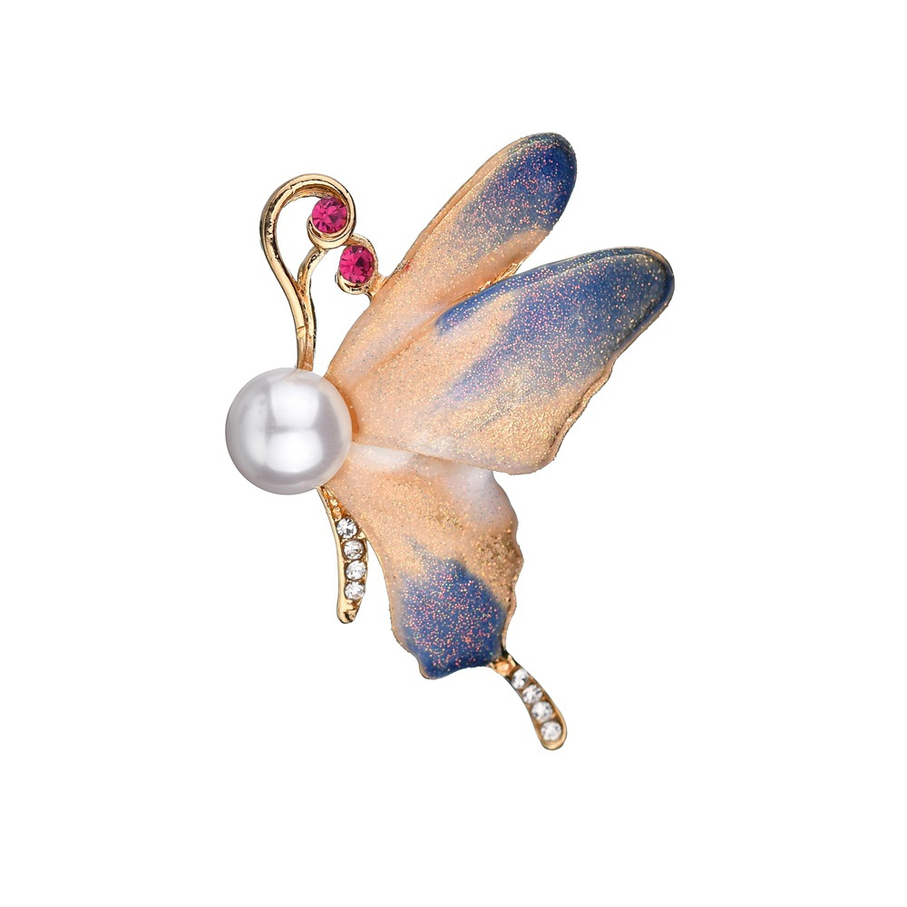Elegant Animal Insect Butterfly Brooch Pin Simulated Pearl Fashion Brooches Flower Wedding Bride Best Gift