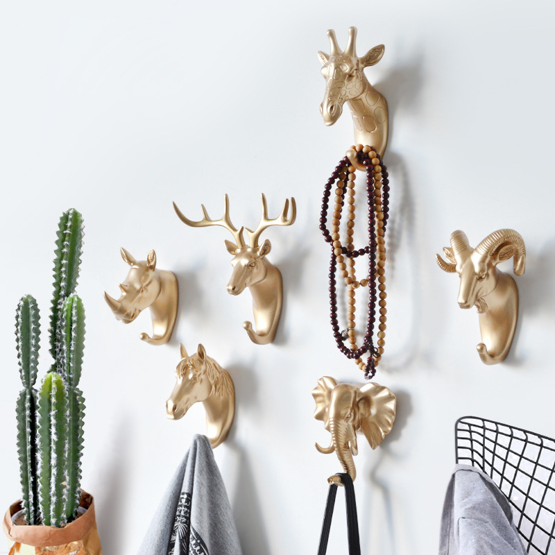 Clothing Cap Display Racks Coat Hanger Room Decor Creative Deer Head Animal Self Adhesive Hook Keys Wall Sticky Mount Holder