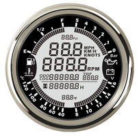 Universal 6 em 1 multi-função calibres gps velocímetro tacômetro à prova dwaterproof água nível de combustível temperatura água pressão de óleo 0-10bar para barco