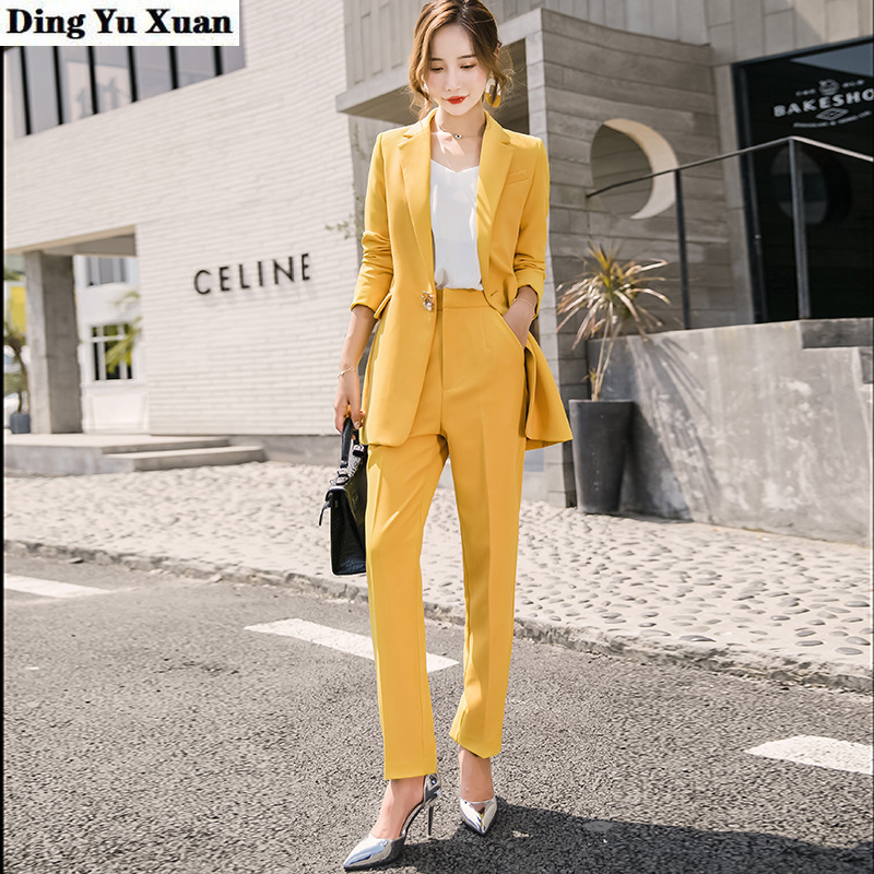 Female Business Interview Yellow Pant Suits for Women Formal Wear Career Trouser Suit Ladies Korean Office 2 Pieces Set Pantsuit