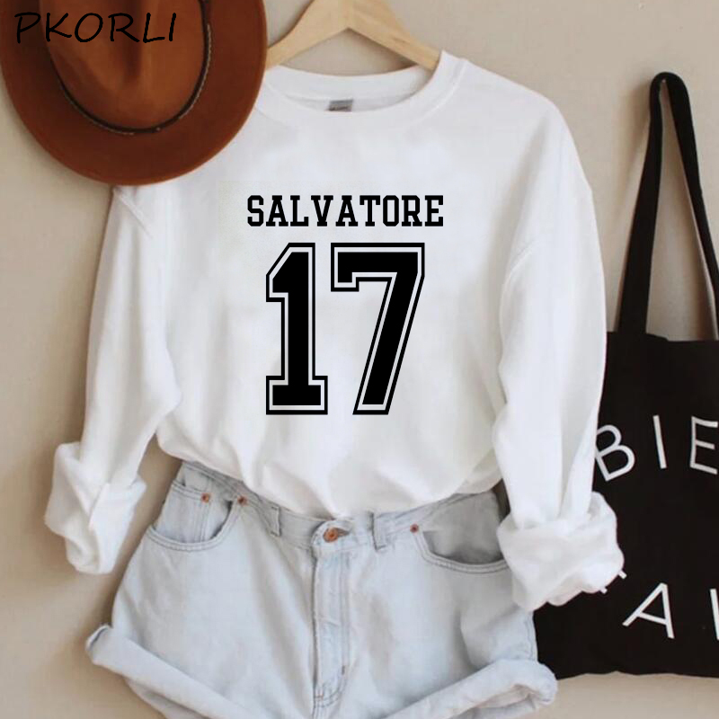The Vampire Diaries Hoodies Women MenTeam Stefan Salvatore Sweatshirt Mystic Falls Salvatore 17 Printed Women's Clothing 10