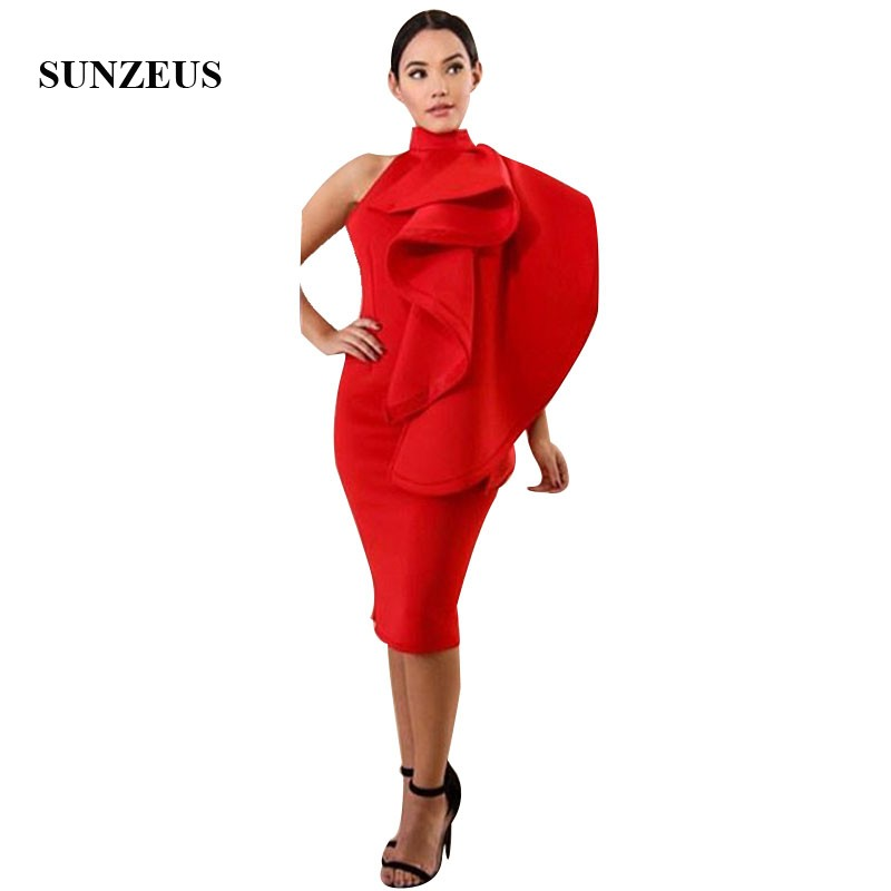 Sheath Red   Prom     Dresses   High Neck Knee Length Low Back Party   Dress   With Ruffles Women Formal Gowns