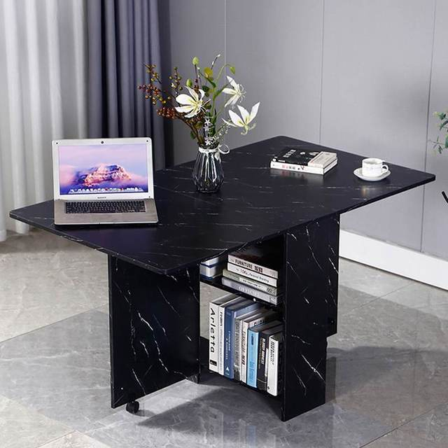 3 in 1 Rolling Dining Table Set Black/White Marble Folding Wooden Dining Table Movable Office Table Kitchen Storage 2
