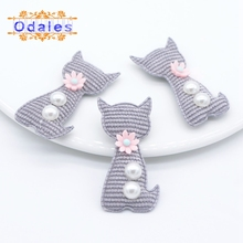 20Pcs Fashion Korean Style Grey Homemade Cat Flower Animal Patches for Decorative Baby Cloth Hats Scoks DIY Crafts Appliques