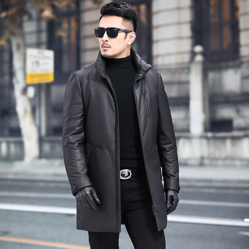 Leather Jacket Sheepskin Genuine Leather Jacket Men Winter Warm Duck Down Coat Mens Leather Jacket Jaqueta De Couro 8373-08YY699
