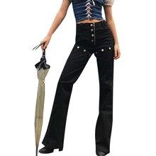Женские джинсы в стиле ретро, панк, осенние и зимние широкие брюки, женские штаны с пуговицами, высокая талия, рок, свободные прямые корейские расклешенные брюки