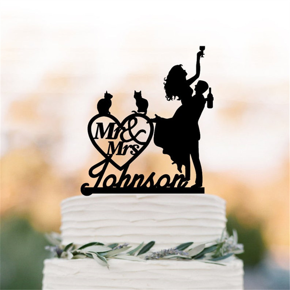 <font><b>Black</b></font> Acrylic Wedding <font><b>Cake</b></font> <font><b>Topper</b></font> Mr and Mrs <font><b>Cake</b></font> <font><b>Topper</b></font> With Last Name Custom <font><b>Cat</b></font> Pet <font><b>Cake</b></font> <font><b>Topper</b></font> Bride and Groom <font><b>Cake</b></font> <font><b>Topper</b></font> image