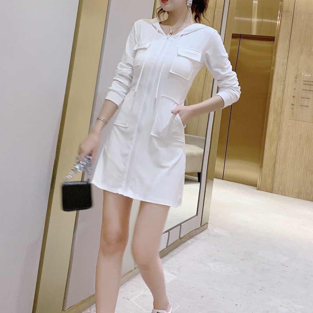 Women's casual hooded dress 2021 Korean version of the new long sleeved high waist slim slimming waist dress ins fashion trend 8
