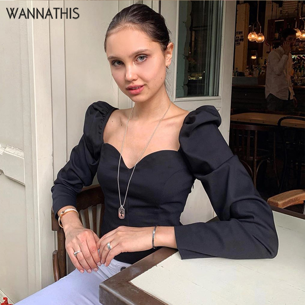 WannaThis Women Shirt Puff Sleeve V-Neck Slim Crop Top Pink Long Sleeve Autumn Fashion Streetwear Stretchy Lady Elegant Tshirt