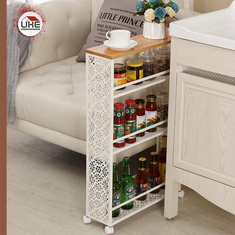 UKE кухонный стеллаж для хранения напольного типа, боковая полка для холодильника, 3 слоя, подвижный органайзер для ванной комнаты, полка, держатель для специй с колесом|Подставки для хранения и стеллажи|   | АлиЭкспресс