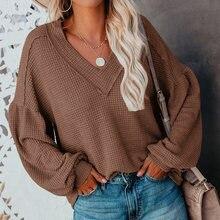 Свободный Тонкий свитер с v образным вырезом весна осень женские