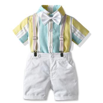 Chłopcy ubrania dla dżentelmenów garnitur lato Wedding Party urodziny ubranka chłopięce dla niemowląt łuk opięte bluzki + szorty 3 sztuk zestaw dla dzieci chłopiec stroje tanie i dobre opinie campure Na co dzień COTTON Mikrofibra Elastyczny pas Z nacięciem Jednorzędowe Marynarki Dobrze pasuje do rozmiaru wybierz swój normalny rozmiar