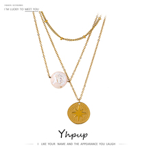 Yhpup Trendy Round North Star Natural Pearl Multi Layer Pendant Necklace Fashion Stainless Steel Gold Plated Chain Necklace