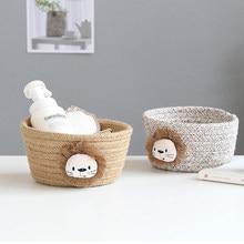 Cartoon Tiere Hand Woven Lagerung Korb Kinder Spielzeug Desktop-Organizer Kleinigkeiten Lagerung Box Wäsche Körbe 16*9CM 1pcs