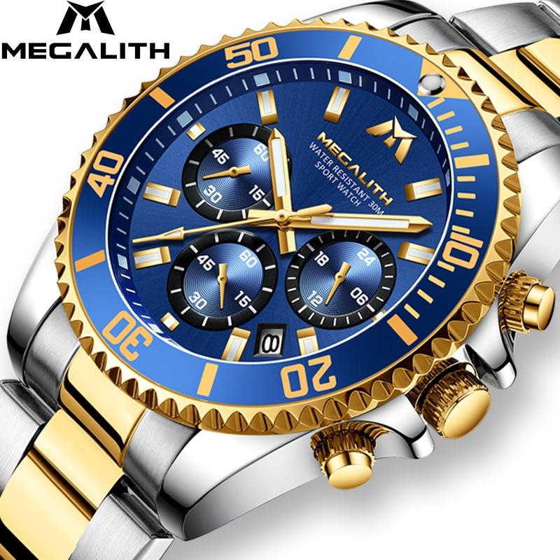 MEGALITH Luxury Watch Men Sports Casual Stainless Steel Wrist Watch Chronograph Luminous Military Quartz Watch Relogio Masculino