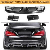 Carbon Fiber Car Rear Bumper Diffuser Lip Spoiler Voor Mercedes Benz W117 C117 CLA250 CLA260 CLA45 Amg Sedan 2013 2014-in Bumpers van Auto´s & Motoren op