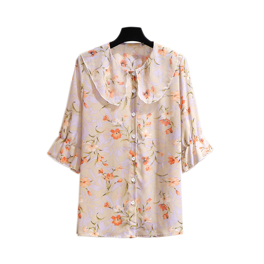Women's Clothing Chiffon Blouse Chubby Womens 2020 Summer 3XL4XL5XL6XL Tops Camisa Peter Pan Collar Butterfly Sleeve Femme Shirt