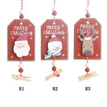 Christmas Wooden Sign Tree Painted Hanging Ornament Xmas Door Wall Pendant Decoration