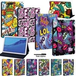 Кожаный чехол-книжка для планшета Huawei MediaPad T3 8,0/T3 10 9,6 дюймов/T5 10 10,1 дюймов с граффити серией + Бесплатный Stlyus