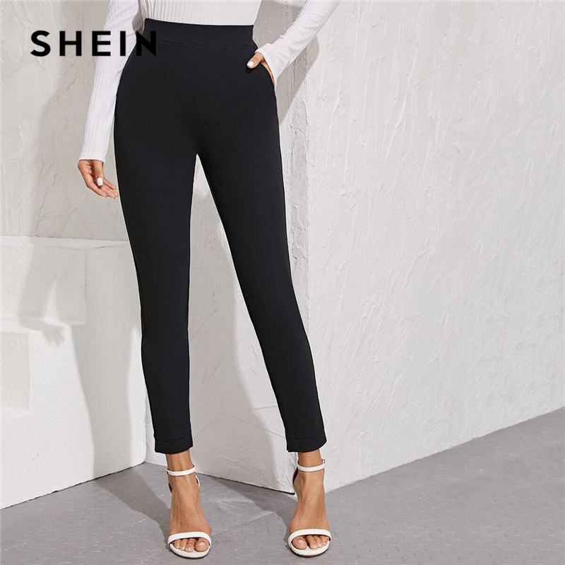 SHEIN Solid Elastic Waist Pocket Side Split Hem Elegant Pants Women Bottoms Autumn High Waist Office Ladies Skinny Trousers 1