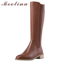 Meotina Autumn Riding Boots Women Natural Genuine Leather Chunky Heel Knee High Boots Zipper Round Toe Long Shoes Lady Winter 39 недорого