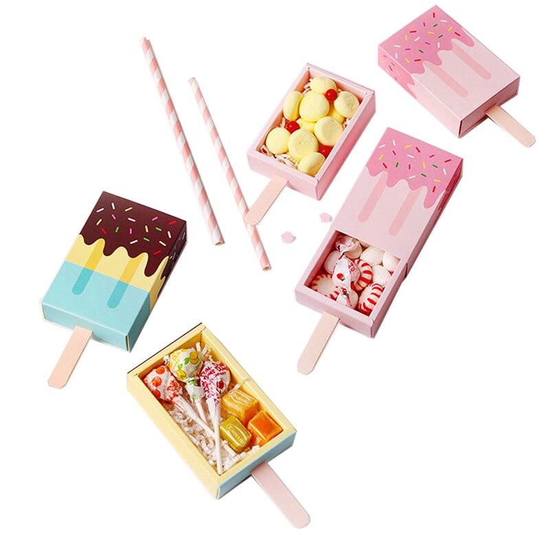 10 stücke eis form Hochzeit party Favor Box Cartoon behandeln box Eis Creme Geschenk box Baby dusche Geburtstag Party candy box