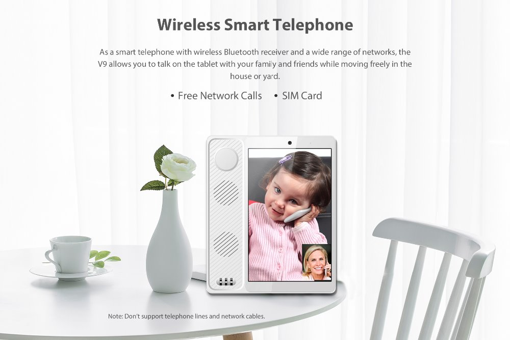 H9165a0181b754b53b337b3392058d2dcP - 2020 New Poptel V9 videophone 8 inch 2g/16g bluetooth handset for home and office  IOT device tablet phone support Google play