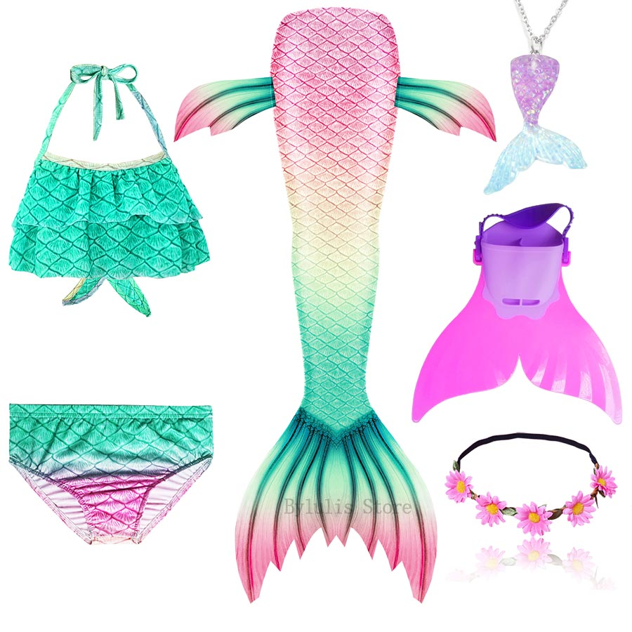 H9165a1aa129941feb2fc3038c6b6ab6aK - Kids Swimmable Mermaid Tail for Girls Swimming Bating Suit Mermaid Costume Swimsuit can add Monofin Fin Goggle with Garland