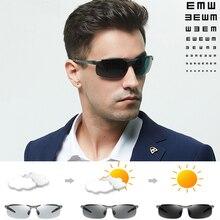 Óculos de sol polarizado fotocrômico, óculos de sol masculino polarizado fotocrômico, óculos de condução com mudança de cor e de camaleão, prescrição