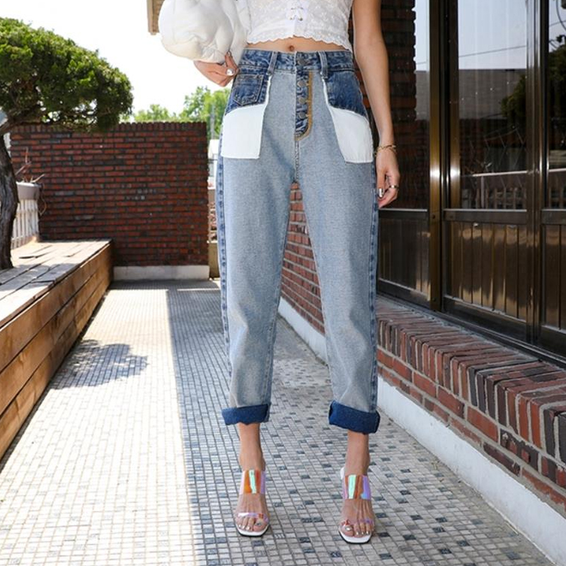 Vintage washed Inside Out High Waist Boyfriend   Jeans   For Women Button Fly Ankle Straight   Jeans   brand designer Denim pants   Jeans