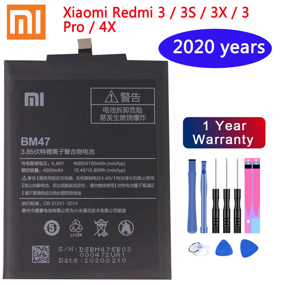 Xiaomi Original Phone <font><b>Battery</b></font> BM47 For Xiaomi Redmi 3 3S 3X 4X 3 pro Note 3 <font><b>5</b></font> 5A Pro <font><b>Mi</b></font> 5X BM22 BN43 BN45 Replacement <font><b>Batteries</b></font> image