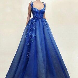 Royal Blue Evening Dresses 2019 A-line Embroidery Flowers Dubai Spaghetti Strap Arabic Long Evening Gown Corset Prom Dress