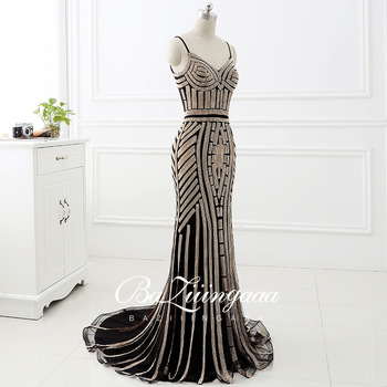 BAZIIINGAAA Luxury Beaded Evening Dress Sleeveless Round Neck Design Long Sleeve Formal Dresses Gown