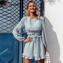 Conmoto babados verão primavera 2020 vestido feminino casual azul do vintage vestidos de praia cintura alta sem costas vestido